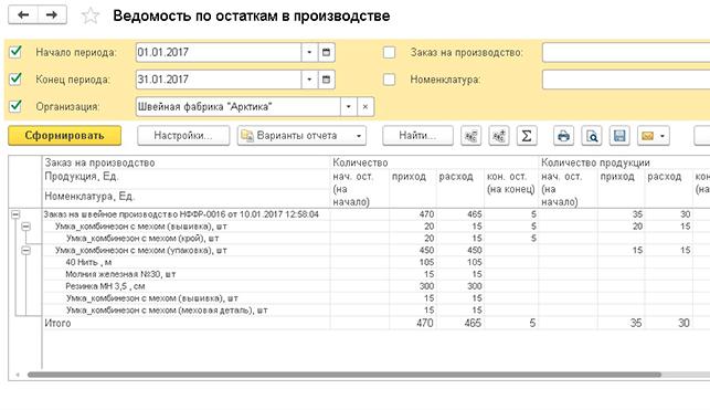 Швейка 8 - отчеты швейного производства (Анализ остатков незавершенки (в разрезе материалов))